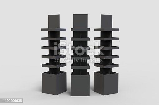 istock Blank Advertising Corrugated Supermarket Retail Promotion Cardboard Display Shelf for Pet Product Snacks Chocolate Instant Noodles. 3d Render Illustration. 1150509635