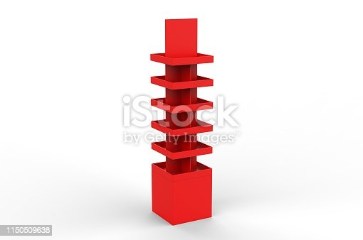 istock Blank Advertising Corrugated Supermarket Retail Promotion Cardboard Display Shelf for Pet Product Snacks Chocolate Instant Noodles. 3d Render Illustration. 1150509638