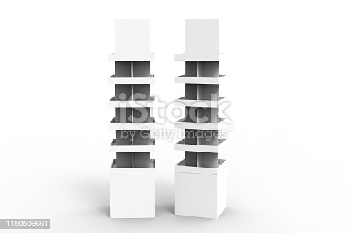istock Blank Advertising Corrugated Supermarket Retail Promotion Cardboard Display Shelf for Pet Product Snacks Chocolate Instant Noodles. 3d Render Illustration. 1150509661
