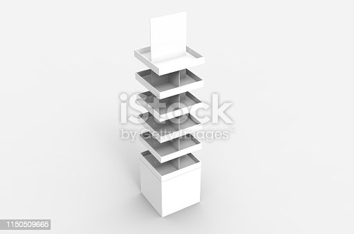 istock Blank Advertising Corrugated Supermarket Retail Promotion Cardboard Display Shelf for Pet Product Snacks Chocolate Instant Noodles. 3d Render Illustration. 1150509665