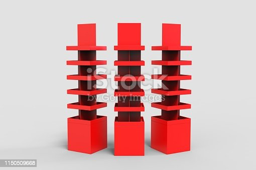 istock Blank Advertising Corrugated Supermarket Retail Promotion Cardboard Display Shelf for Pet Product Snacks Chocolate Instant Noodles. 3d Render Illustration. 1150509668