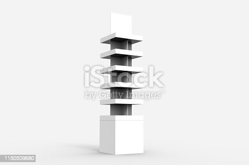 istock Blank Advertising Corrugated Supermarket Retail Promotion Cardboard Display Shelf for Pet Product Snacks Chocolate Instant Noodles. 3d Render Illustration. 1150509680