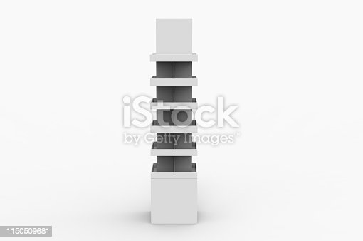 istock Blank Advertising Corrugated Supermarket Retail Promotion Cardboard Display Shelf for Pet Product Snacks Chocolate Instant Noodles. 3d Render Illustration. 1150509681