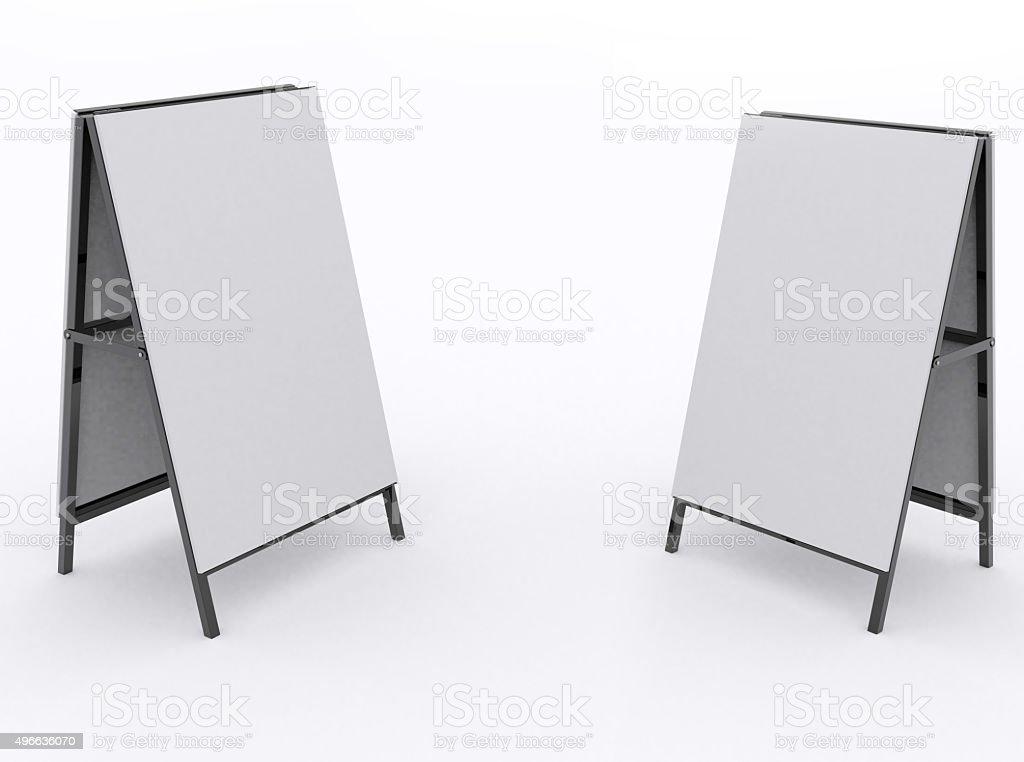Blank advertising - easel bilboard empty stock photo