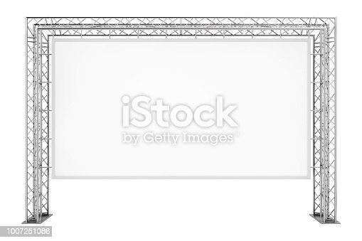 istock Blank Advertising Outdoor Banner on Metal Truss Construction System. 3d Rendering 1007251086
