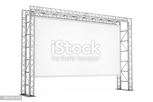 istock Blank Advertising Outdoor Banner on Metal Truss Construction System. 3d Rendering 1007251478