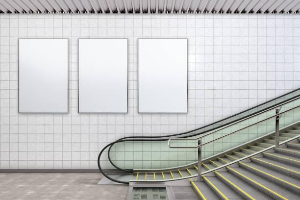 blank advertising poster mockup - escalator foto e immagini stock