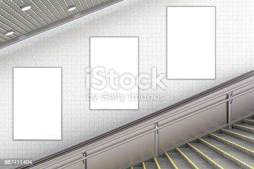 istock Blank advertising poster on underground escalator wall 887411404