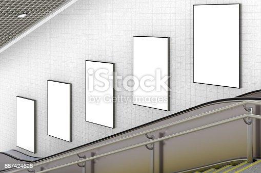 istock Blank advertising poster on underground escalator wall 887424628