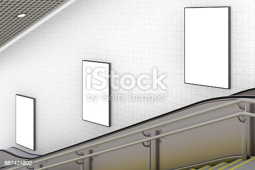 istock Blank advertising poster on underground escalator wall 887424802