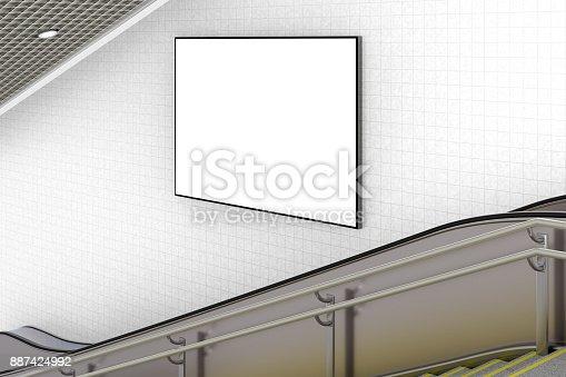 istock Blank advertising poster on underground escalator wall 887424992