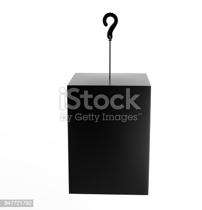 istock Blank Advertising PVC  Promotional cube Dangler And Hanging box For Design Presentation. 3d Render Illustration. 947721792
