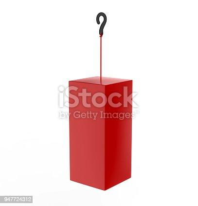 istock Blank Advertising PVC  Promotional cube Dangler And Hanging box For Design Presentation. 3d Render Illustration. 947724312