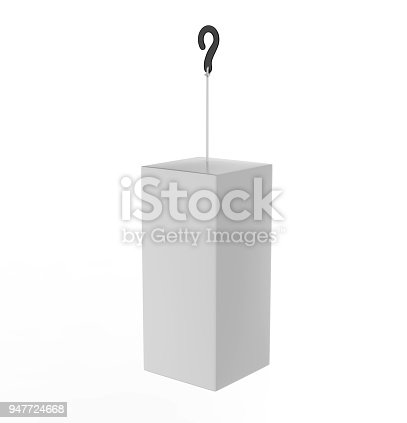 istock Blank Advertising PVC  Promotional cube Dangler And Hanging box For Design Presentation. 3d Render Illustration. 947724668