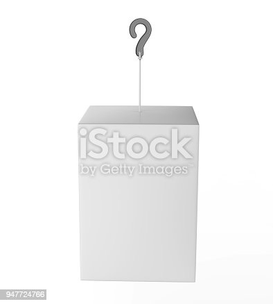 istock Blank Advertising PVC  Promotional cube Dangler And Hanging box For Design Presentation. 3d Render Illustration. 947724766