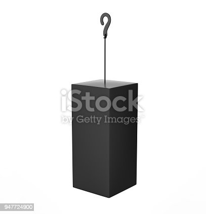istock Blank Advertising PVC  Promotional cube Dangler And Hanging box For Design Presentation. 3d Render Illustration. 947724900