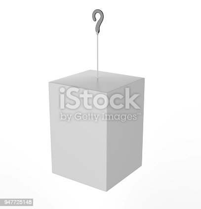istock Blank Advertising PVC  Promotional cube Dangler And Hanging box For Design Presentation. 3d Render Illustration. 947725148