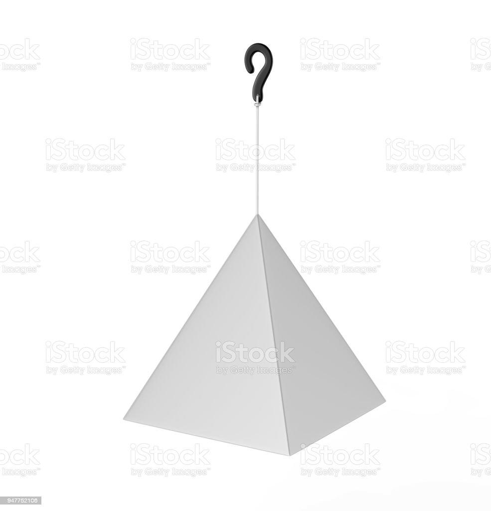 Blank Advertising PVC  Promotional cube Dangler And Hanging box For Design Presentation. 3d Render Illustration. stock photo