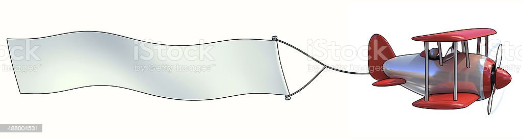 Blank aerial advertising - 3D cartoon airplane with empty banner stock photo