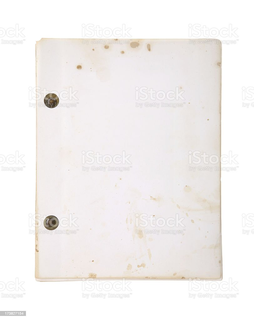 Blank Aged Movie Script stock photo