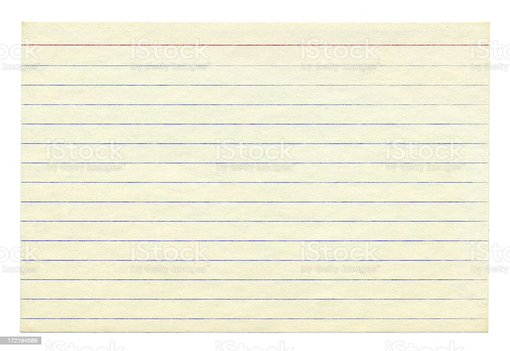 Blank Aged White Index Card - Isolated stock photo