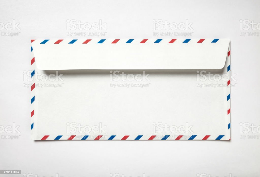 Blank airmail envelope back stock photo
