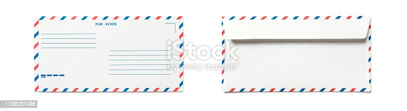 istock Blank airmail envelope isolated, front and back views. 1138231495