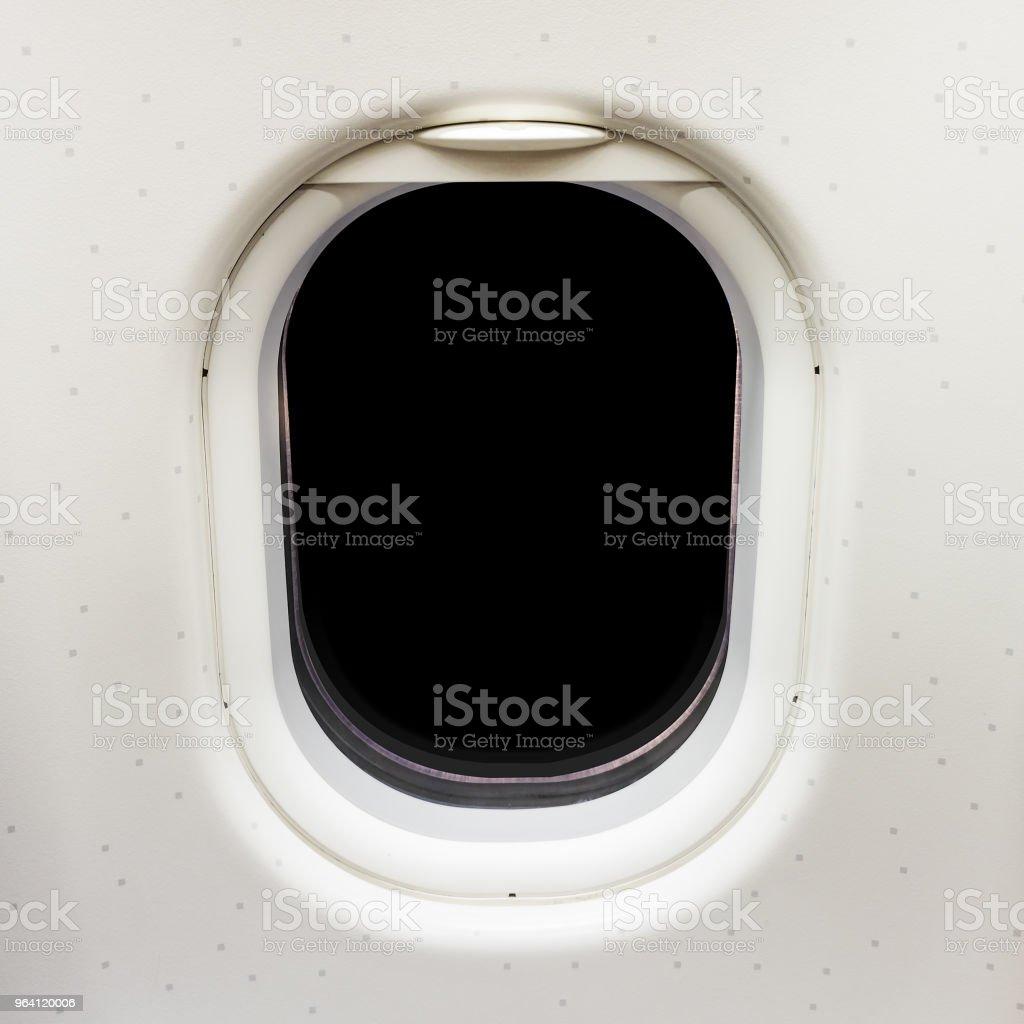 Blank airplane window with black copy space stock photo