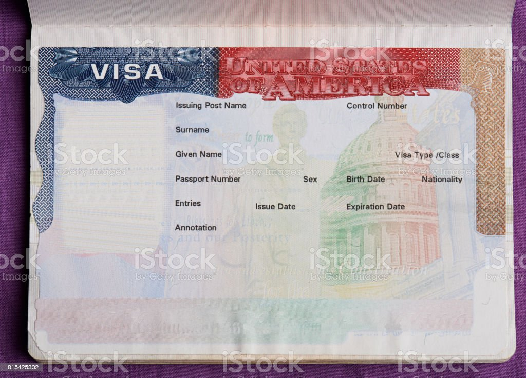 Blank american visa in passport stock photo