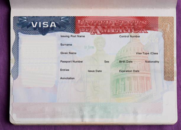 Visa americana en blanco en el pasaporte - foto de stock