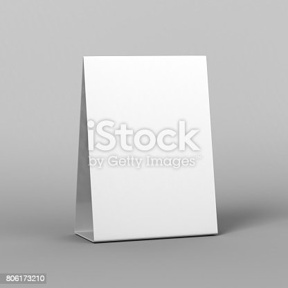 istock Blank and White Promotional Table Talkers and Table Tent  3d Mock up rendering. 806173210