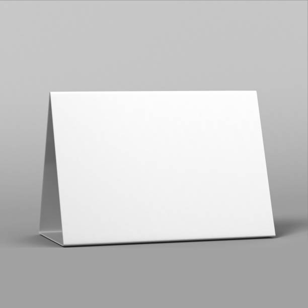 blank and white promotional table talkers and table tent  3d mock up rendering. - язык знаковая система стоковые фото и изображения