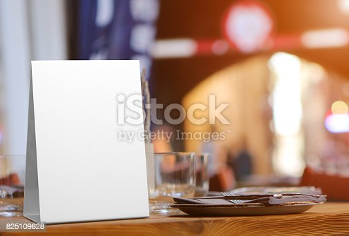 istock Blank and White Promotional Table Talkers and Table Tent 3d Mock up rendering 825109628
