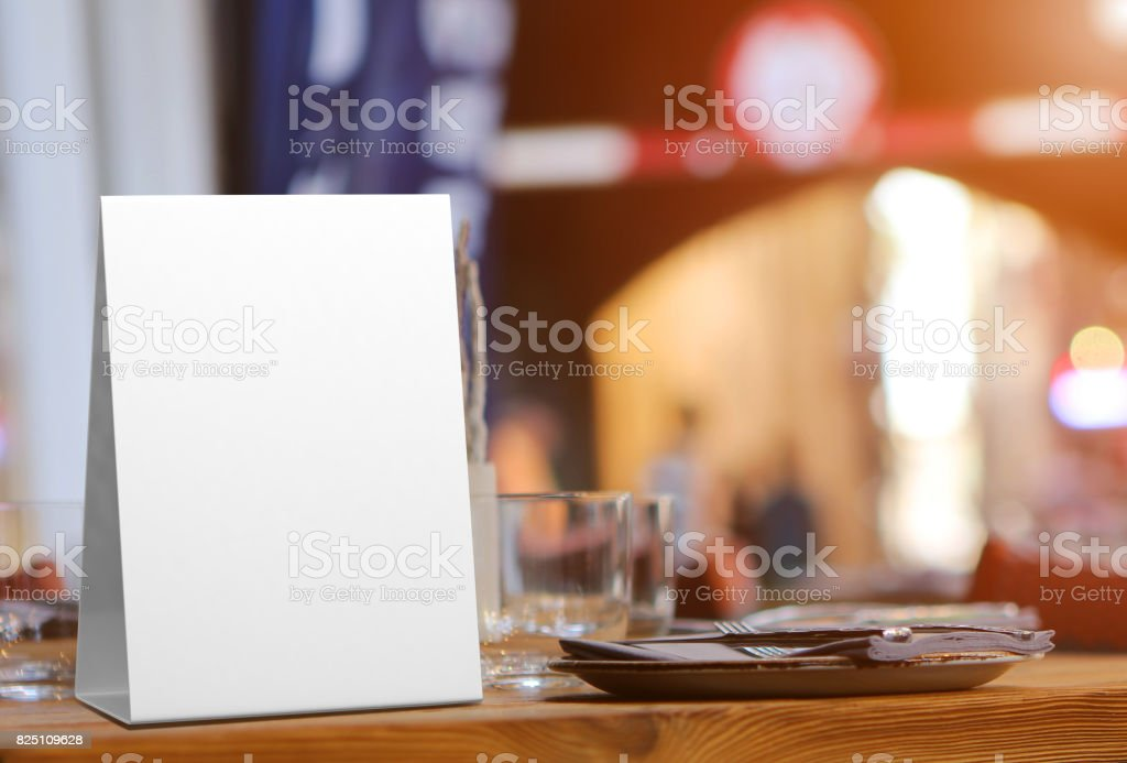 Blank and White Promotional Table Talkers and Table Tent 3d Mock up rendering stock photo