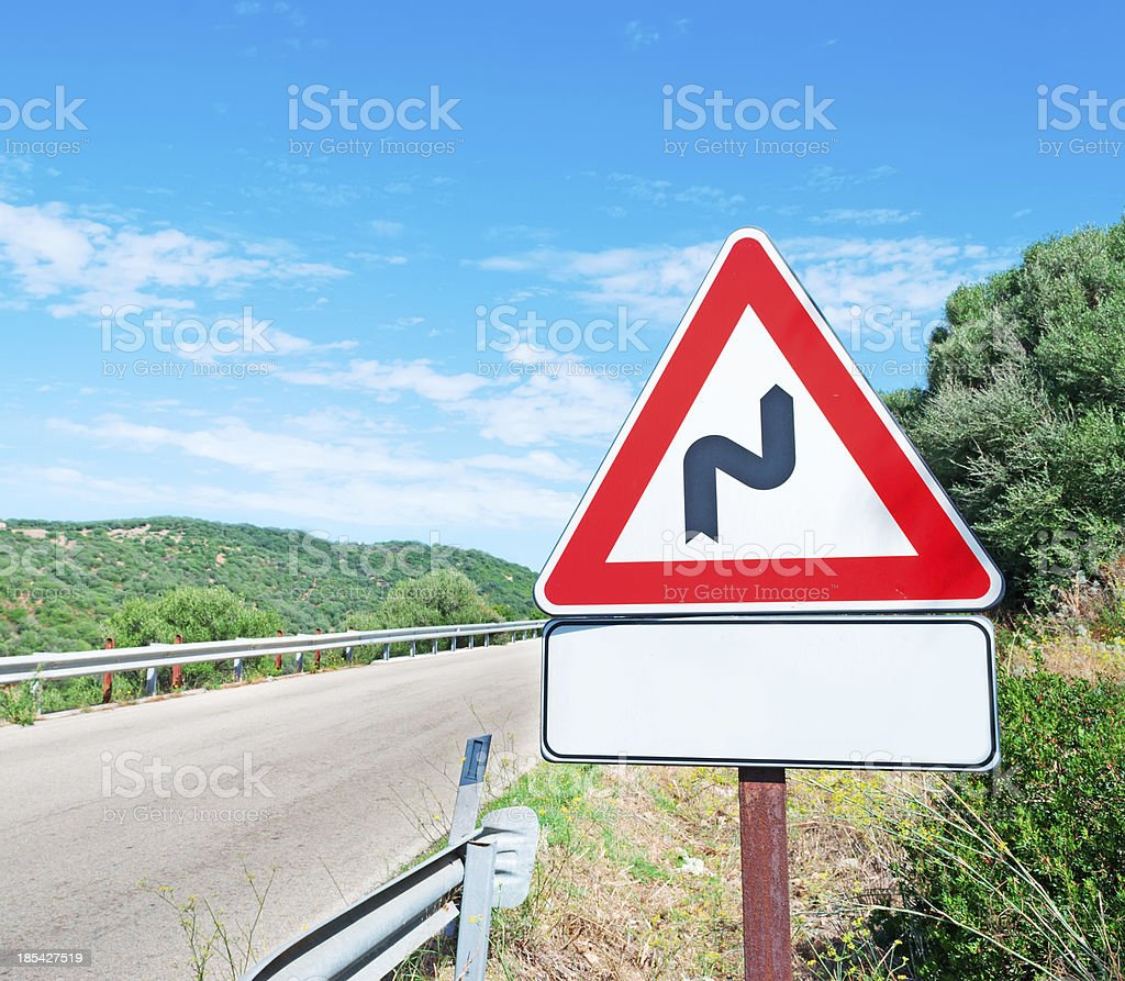blank and winding road signs royalty-free stock photo