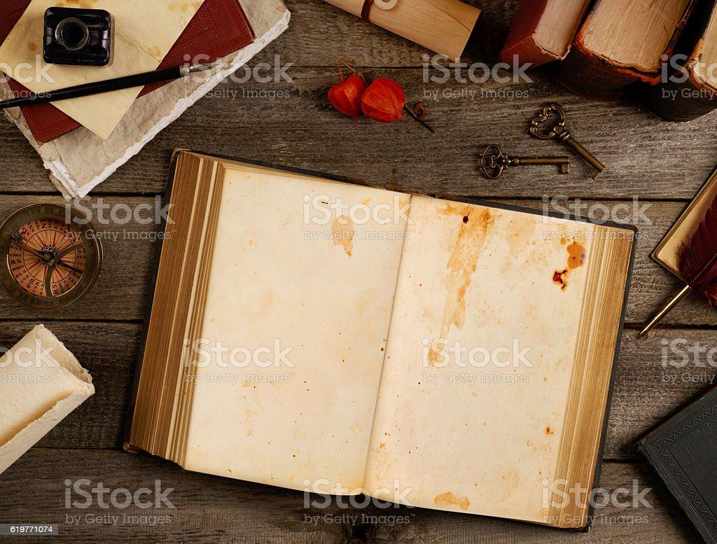 Blank antique book open stock photo