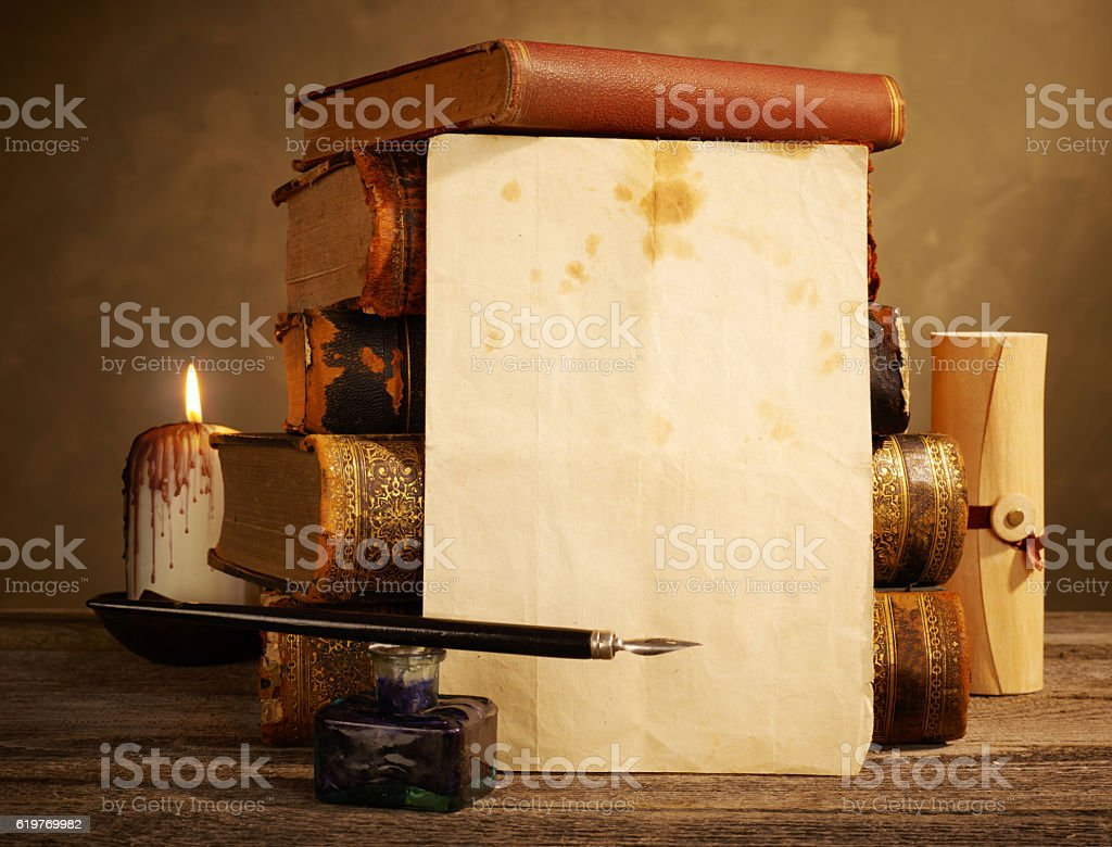 Blank antique page and books stock photo
