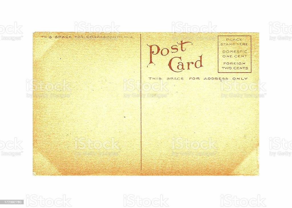 Blank Antique Postcard stock photo