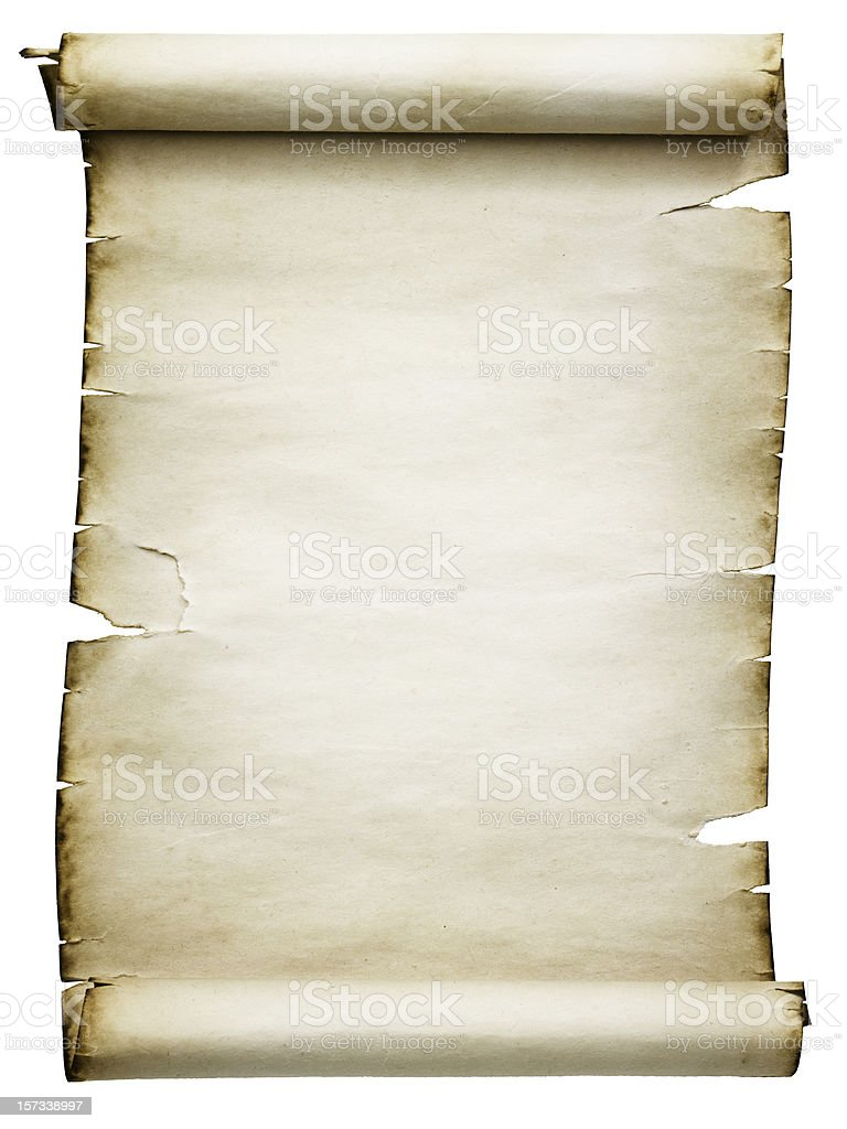 Blank Antique Scroll (Clipping Path; XXL) royalty-free stock photo