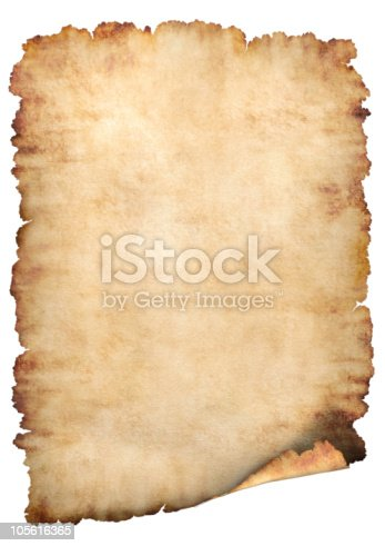 istock Blank antiqued parchment paper with tattered edges 105616365