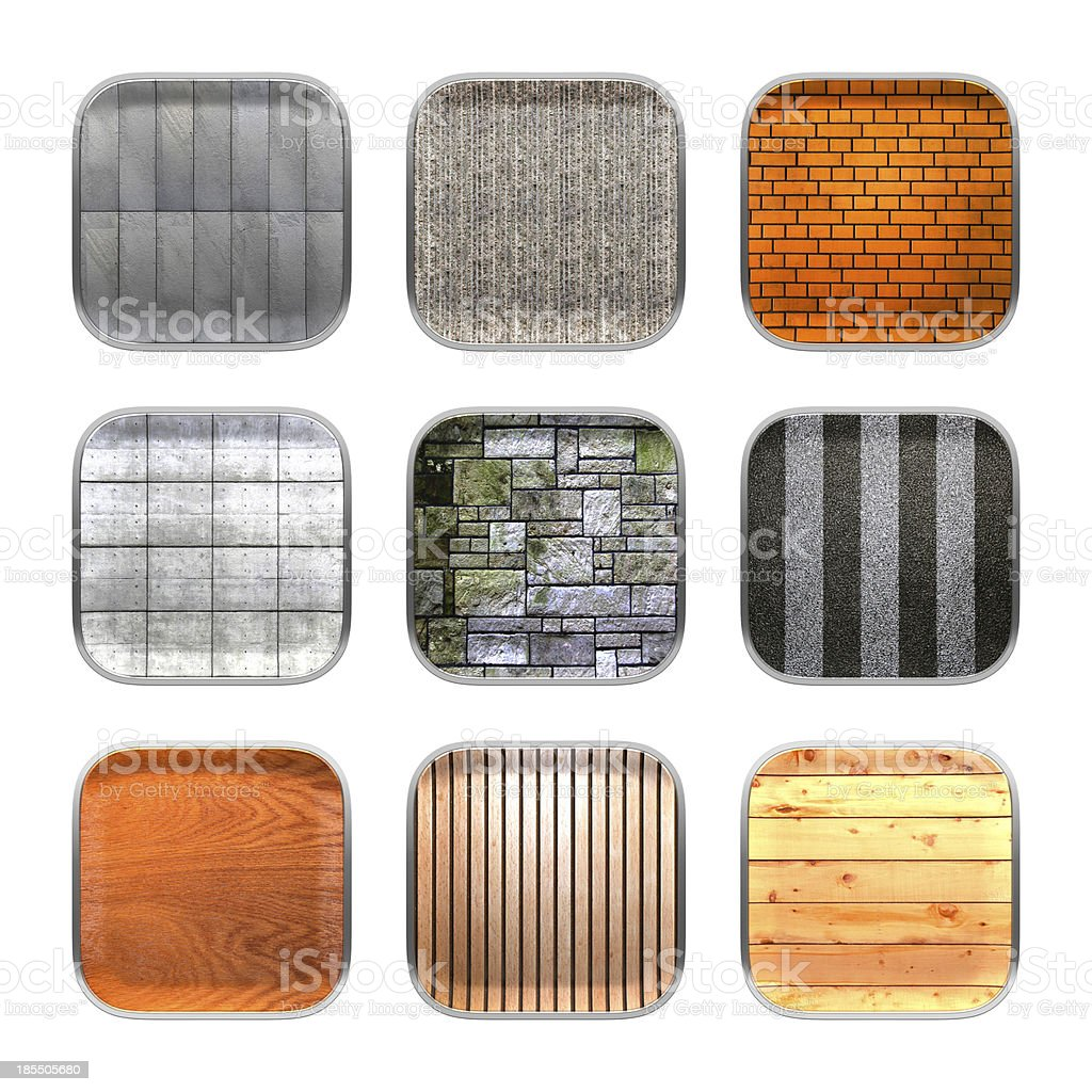 Blank app icon architecture material theme texture with metalic frame stock photo