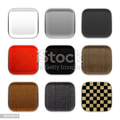 istock Blank app icon fabric material theme texture with metalic frame. 185505676