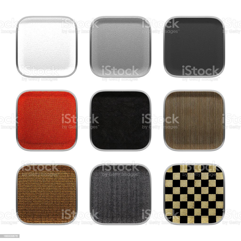 Blank app icon fabric material theme texture with metalic frame. stock photo