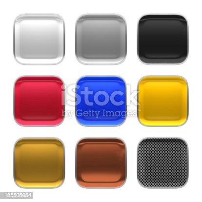 istock Blank app icon metallic material theme texture with metalic frame. 185505654