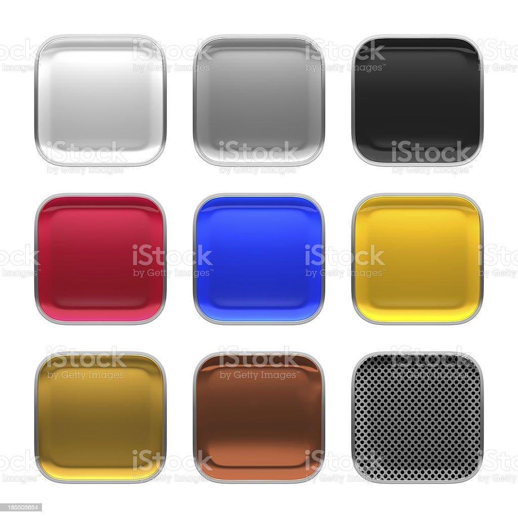 Blank app icon metallic material theme texture with metalic frame. stock photo