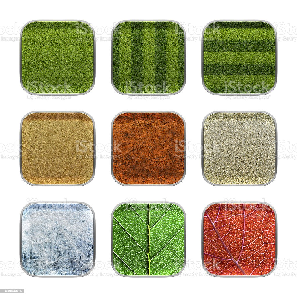 Blank app icon nature material theme texture with metallic frame. stock photo