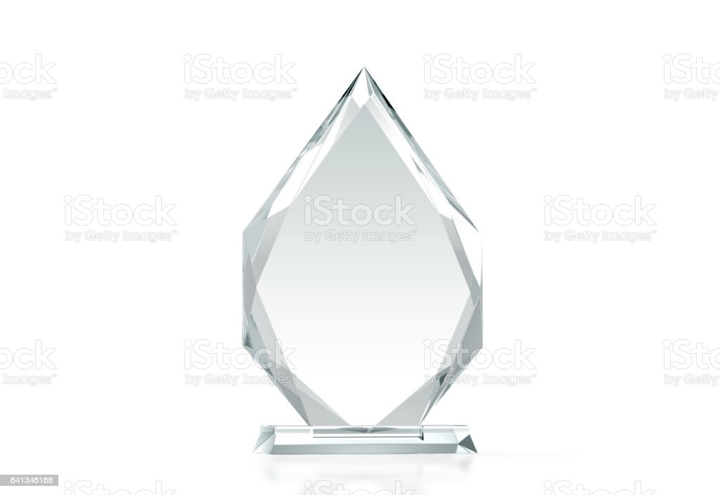 Blank arrow shape glass trophy mockup, 3d rendering stock photo