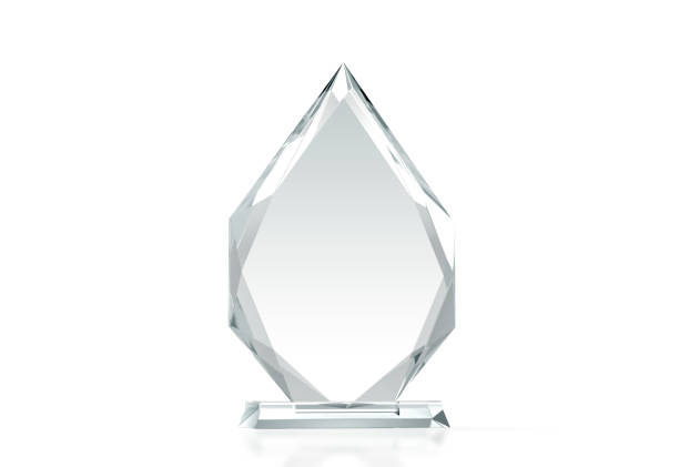 blank arrow shape glass trophy mockup, 3d rendering - trophy award stock photos and pictures