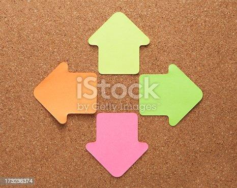 istock Blank arrow shape note paper on cork board 173236374