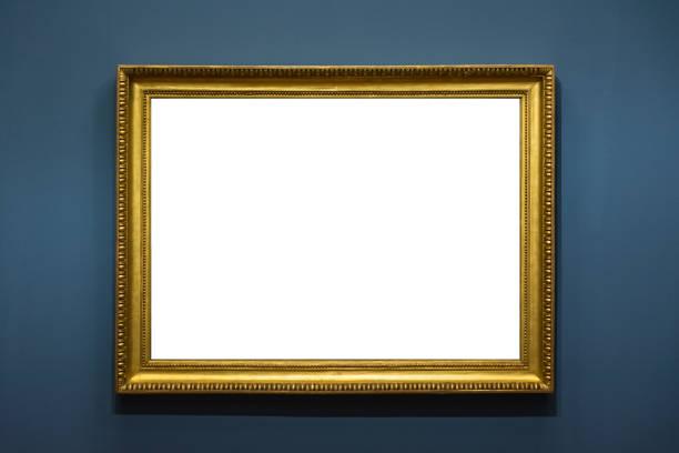 Blank-Kunstmuseum isoliert Gemälde Rahmen innen Dekoration Wand weiße Vorlage – Foto